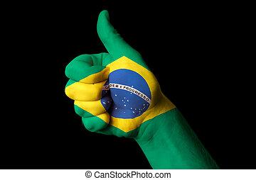 brazylia, kciuk, krajowy, do góry, bandera, doskonałość, gest, osiągnąć
