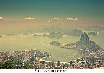 brazylia, miasto, janeiro, wizje lokalne, od, corcovado, rio
