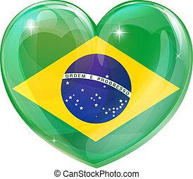 brazylia, serce, miłość, bandera