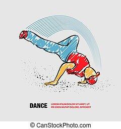 breakdance, bazgrać, freeze., breakdancer, wektor, szkic, doodles.