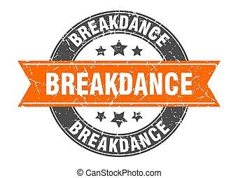 breakdance, tłoczyć, znak, okrągły, etykieta, ribbon.