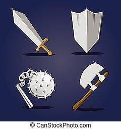 broń, starożytny, zbiór