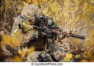 bro, wojsko, cel, tarcza, drużyna