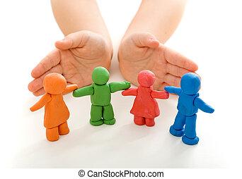 broniąc, dziecko, glina, ludzie, siła robocza