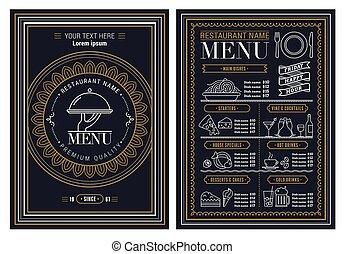 broszura, szablon, wektor, restauracja, projektować, menu