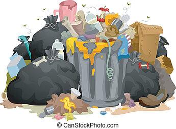brudny, mnóstwo, odpadki