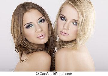 brunetka, drużki, -, dwa, blond
