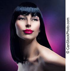 brunetka, dziewczyna, fason, portrait., wzór, hairstyle., piękny