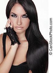 brunetka, dziewczyna, girl., piękno, hair., wzór, woman., odizolowany, portret, hairstyle., zdrowy, tło., długi, piękny, biały