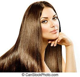 brunetka, dziewczyna, hair., odizolowany, piękny, długi, prosty, biały
