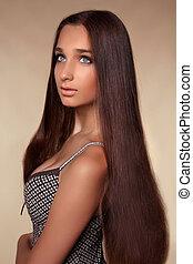 brunetka, dziewczyna kobiety, piękno, portrait., hair., wzór, brązowy, gładki, zdrowy, długi, błyszczący