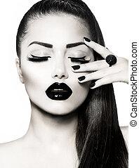brunetka, dziewczyna, portrait., czarnoskóry, modny, manicure, kawior, biały