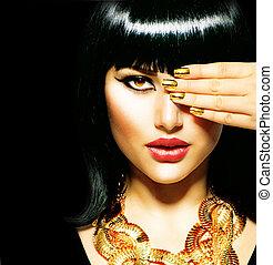 brunetka, egipcjanin, piękno, woman., złoty, przybory