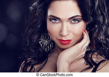 brunetka, girl., piękno, fason, ustalać, photo., wzór, woman., biżuteria, piękny, do góry.