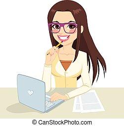 brunetka, nerd, pracujący, sekretarka