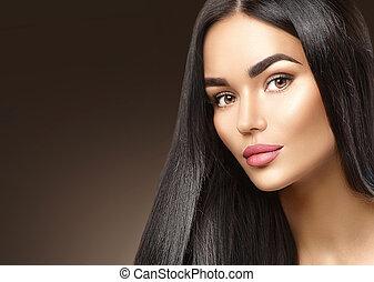 brunetka, piękno, młody, twarz, kobieta, closeup, portret, dziewczyna, fason