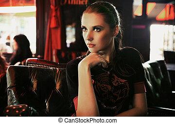 brunetka, sztuka, fotografia, młody, fason, pociągający