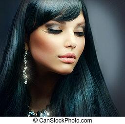 brunetka włos, girl., makijaż, święto, zdrowy, długi, piękny