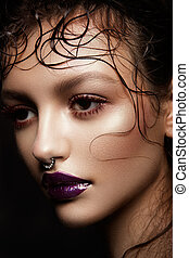 brunetka, wzór, fason, portrait.