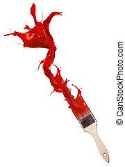 brush., tło, odizolowany, poza, malować, czerwony, bryzgając, biały