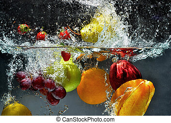 bryzg, świeży owoc, woda