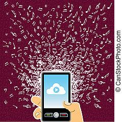 bryzg, muzyka, ręka, telefon, mądry, ludzki, notatki