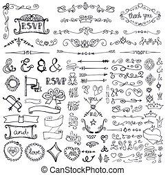 brzeg, doodle, komplet, element, dekoracje, strzały