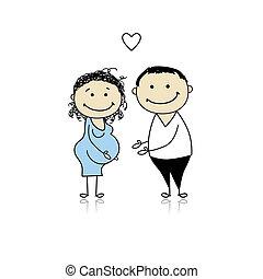 brzemienność, usługiwanie, rodzice, niemowlę, szczęśliwy