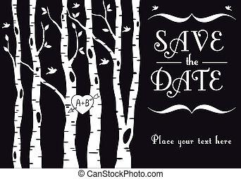 brzoza, zaproszenie, ślub, drzewa