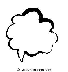 bubble., ręka, wektor, szczotka, illustration., pociągnięty, grunge, mowa