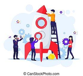 budować, wektor, nowy, zwiększyć, pojęcie, business., rakieta, ilustracja, pracujący, płaski, startup, razem, handlowy, wodowanie, ludzie, twój