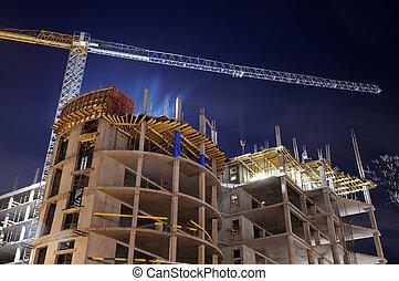 budowa zbudowanie, umiejscawiać, noc