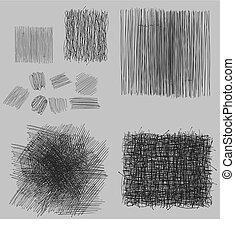 budowy, grunge, set., ilustracja, wektor, wylęgając, szorstki, rysunek
