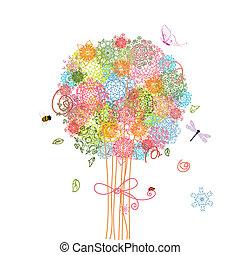 bukiet, drzewo, święto, arabeski