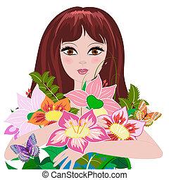 bukiet, dziewczyna, kwiaty