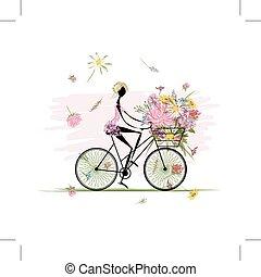 bukiet, kosz, dziewczyna, kolarstwo, kwiatowy