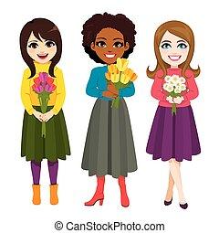bukiet, kwiat, trzy, dzierżawa, kobiety