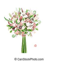 bukiet, kwiatowy zamiar, twój, ślub