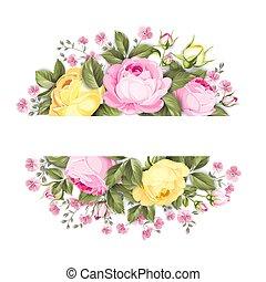 bukiet, róże, tekst, etykieta, place., gałąź, kwiatowy, owal
