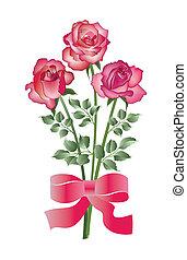 bukiet, róże, trzy