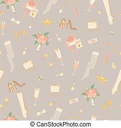 bukiety, wesele, seamless, wektor, fason, ślub, projektować, przybory, rękawiczki, mnóstwo, próbka, illustration.