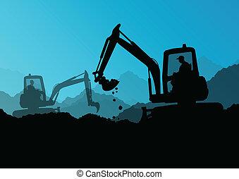 buldożer, przemysłowy, kopanie, ekskawator, pracownicy, umiejscawiać, ilustracja, traktory, wektor, tło, zbudowanie, ładowarki