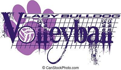 buldog, dama, siatkówka