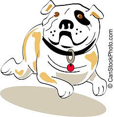 buldog, graficzna sztuka, pies, zacisk