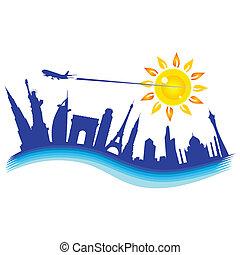 buliding, samolot, ilustracja, podróż