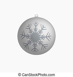 bulwa, wektor, płatek śniegu, srebro, boże narodzenie