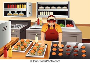 burgers, człowiek, gotowanie