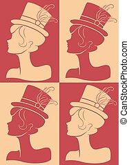 burleska, dziewczyna, sylwetka, kapelusz