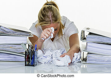 burnout, kobieta, biuro