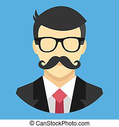 busines, wektor, wąsy, człowiek